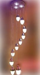 10 Oval Shape Lamp Pendant Light Chandelier With Three Colors LED Light
