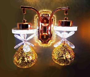 Golden Shade Lamp With Butterfly Crystal Hang Wall Lamp