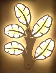 Modern Leaf Design Acrylic LED Wall Lamp With Three Color Light