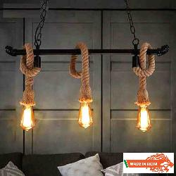 MADE IN INDIA PRODUCT Filament Bulb With Rope Hanging Chandelier