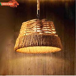 Retro Style Vintage Drum Rope Pendant Chandelier For Cafe, Bar
