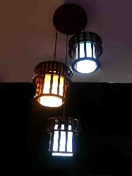 Wooden Hanging Light With Cylindrical Glass