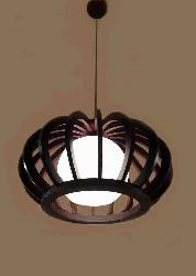 Wooden Cage Sphere Glass Hanging Chandelier