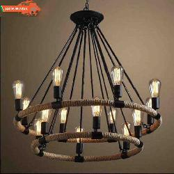 Vintage Style Two Wheel Rope Pendent Chandelier