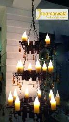 Aesthetic Candle Decorative Middle Age Pattern Wooden Chandelier