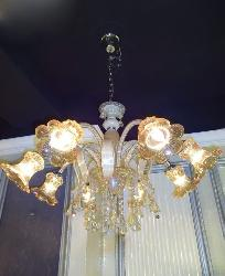 8 Flower Glass Lamp Italian Crystal Chandelier