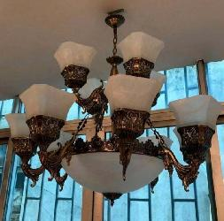 Modern Square Shape Glass Shade Antique Jhoomar