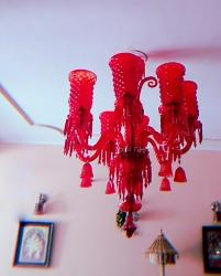 Exquisite Red Colour Glass Lamp Pendant Chandelier