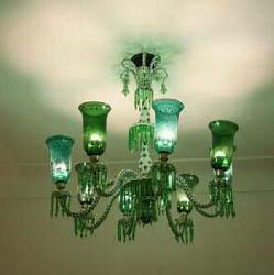 Alluring Mughal Style Glass Shade Antique Chandelier