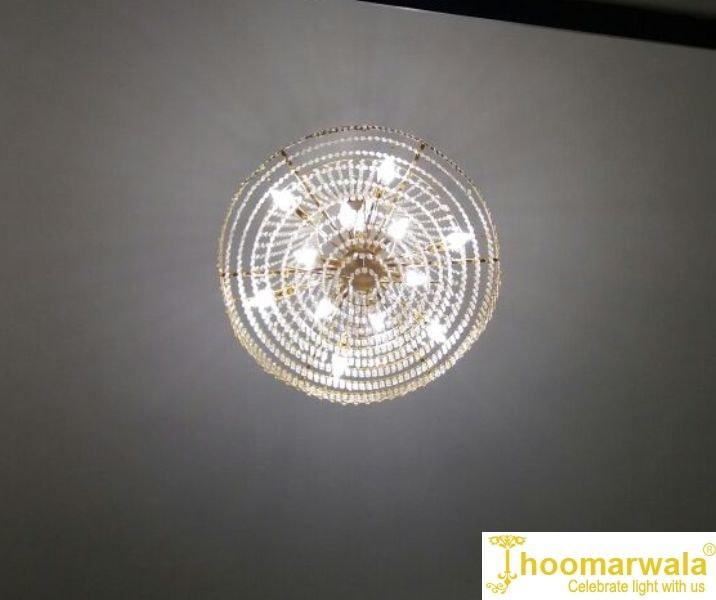 Stunning Golden Decorative Crystal Chandelier With Bright Illumination