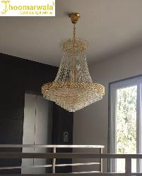 Led Lights Stunning Golden Decorative Crystal Chandelier With Bright Illumination