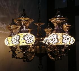 Aesthetic 6 Light Moroccan Glass Shade Chandelier