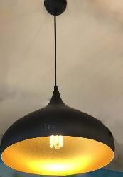 Black and Gold Finish Metal Pendant Hanging Light