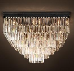 Luxury Square Design and Bright Crystal Chandelier
