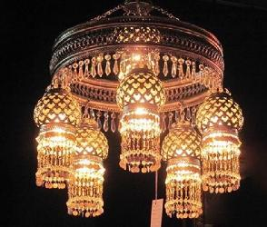 Antique and Textured 7 Lamp Mughal Design Chandelier