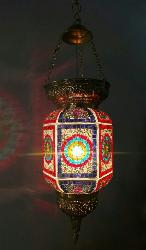 Moroccan style hanging glass lantern
