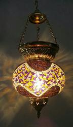 Moroccan Multi Color Glass Design Globe Shaped Pendant Light