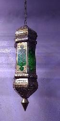 Green Color Glass and Metal Shade Hollow Lantern Hanging Light