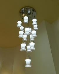15 Light Fiber Glass LED Hanging Chandelier