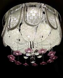 Pink Flower Design Multi Color Light Musical Jhoomar