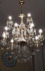 Customized Luxury Glass and Crystal Italian Munro Candle Chandelier