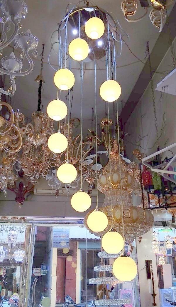 Beautiful Luster Glass Double Height Led Pendant Chandelier