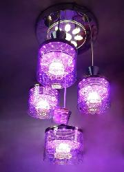 Multi Color LED Lighting and Glass Shade Pendant Hanging Chandelier