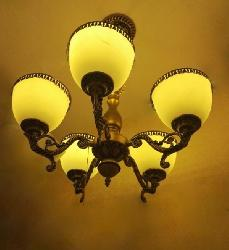 5 Light Frosted Glass Shade Antique Chandelier