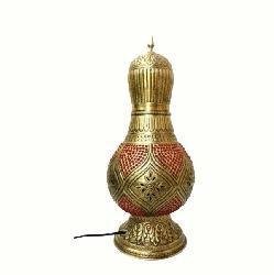 Textured Antique Brass Moroccan Style RED Table Lamp and Bedside Lamp
