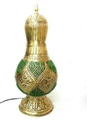 Textured Antique Brass Moroccan Style GREEN Table Lamp and Bedside Lamp