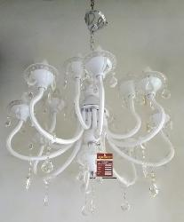 12 Light White Glass Arms and Crystal Elegant Italian Chandelier
