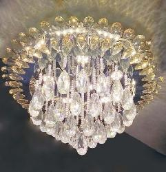 Double Crystal Design Ring With Three Step LED Light Surface Mounted Remote Operated Chandelier