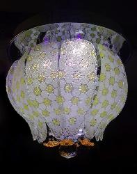 Yellow and White Dots Glass and Remote Operated Light Chandelier