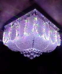 U Shape Glass and Multi Color Light Musical Ceiling Chandelier