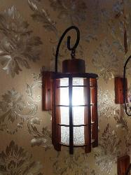 Cylindrical Shape Wooden Wall Lamp With Glass