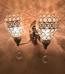 Aesthetic Golden Touch and Crystal Decorative Double Shade Wall Light