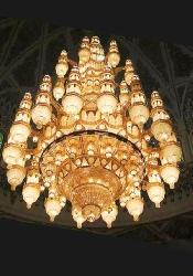 Aesthetic Design Glass and Crystal Decorative Big Size Chandelier With Golden Frame