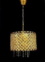 Golden Coated Round Metal Cage and Crystal Pendant Chandelier For Home Interior