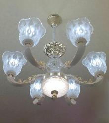 White Colour Antique Chandelier With 6 Glass Lamps