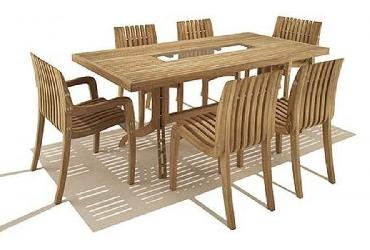 Rectangular Brown Dining Table With 6 Chair Set