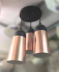 Three Copper Cone Hanging Light For Bedroom and Kitchen and Restaurant