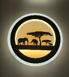 Elephant and Tree Art Exclusive Frame LED Wall Lamp