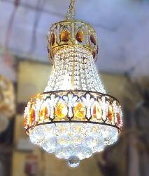Modern Design Golden Finish and Crystal Decorative Jhoomar
