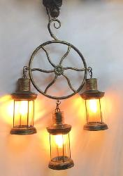 Wheel Design Rustic Vintage Glass Light Chandelier For Hotel and Cafe House