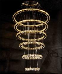 Big Size Six Ring Crystal LED Chandelier