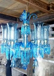 Elegant Sky Blue Colour Glass Lamp Mughal Style Antique Chandelier