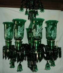 Green Glass Lamp Traditional Mughal Design Antique Chandelier
