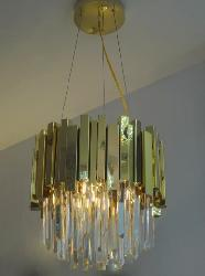Small Size Crystal Decor Golden Finish Height Suspension Chandelier