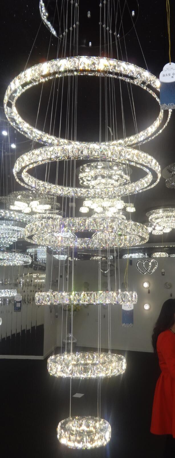 Crystal hanging chandelier led 6 step crystal ring chandelier aloadofball Images