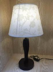 Wooden Stand and Yarn Design Fabric Shade Table Lamp